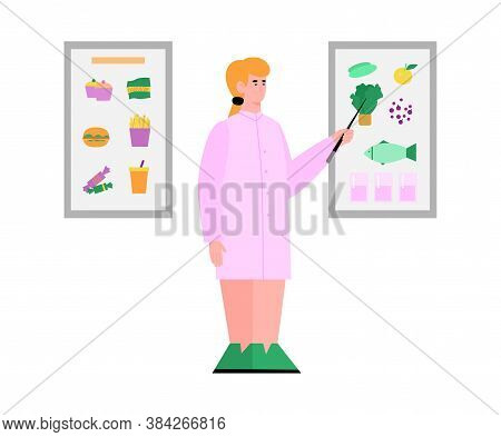 Female Character Of Doctor Nutritionist Or Dietolog Showing Principles Of Healthy Dieting And Nutrit