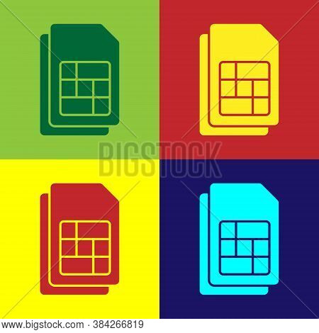 Pop Art Sim Card Icon Isolated On Color Background. Mobile Cellular Phone Sim Card Chip. Mobile Tele