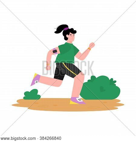 Young Woman Cartoon Character In Sportswear Jogging In Park, Flat Cartoon Vector Illustration Isolat