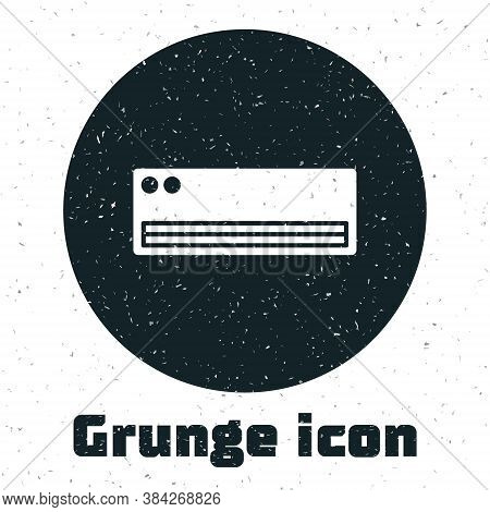 Grunge Air Conditioner Icon Isolated On White Background. Split System Air Conditioning. Cool And Co