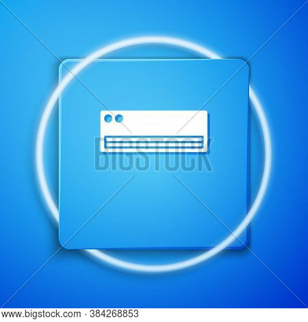 White Air Conditioner Icon Isolated On Blue Background. Split System Air Conditioning. Cool And Cold