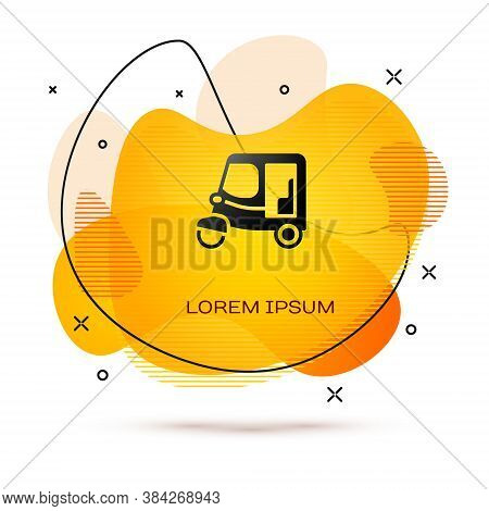 Black Taxi Tuk Tuk Icon Isolated On White Background. Indian Auto Rickshaw Concept. Delhi Auto. Abst