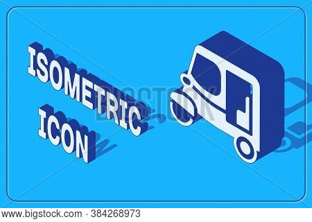 Isometric Taxi Tuk Tuk Icon Isolated On Blue Background. Indian Auto Rickshaw Concept. Delhi Auto. V