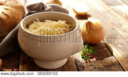 onion soup with bread toast and gruyere
