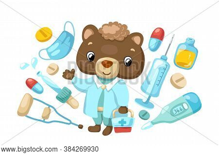 Cute Bear Doctor Character With Medical Tools And Drugs, Vector Illustration On White Background. Ki