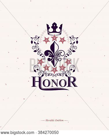 Victorian Colorful Emblem Composed Using Lily Flower And Monarch Crown. Royal Quality Award Vector D