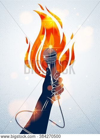 Microphone In Hand On Fire, Hot Mic In Flames Live Show, Rap Battle Rhymes Music, Concert Festival O