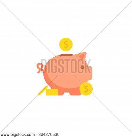 Pig Bank, Simple Cartoon Illustration. Piggy Money Box, Save Cash Concept Design In Vector Flat