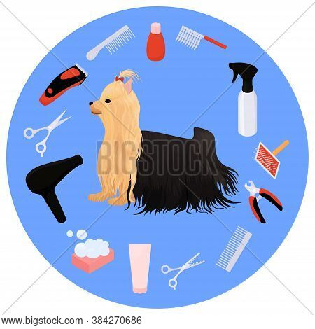 Dog Grooming Icons Vector Set And Yorkshire Terrier. Cartoon Illustration For Beauty Salon Logo.