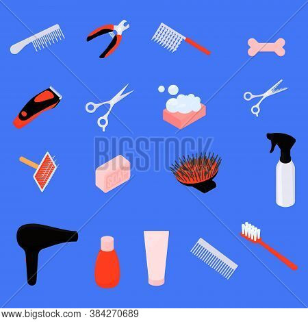 Grooming Tools Isolated On Blue. Equipment For Dog Grooming. Set Of Vector Cartoon Objects For Hygie
