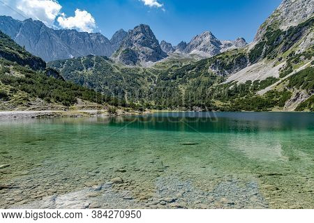 The Seebensee Is A Natural High Mountain Lake At An Altitude Of 1657 Meters South Of Ehrwald In The