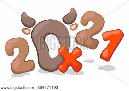 2021 And Ox Letters With Bull Horns, Cartoon Vector Illustration On White Background. 2021 New Year
