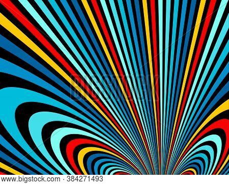 Psychedelic Rainbow Colored Optical Illusion Lines Vector Insane Art Background, Lsd Hallucination D