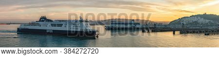 Port Of Dover, England - June 24, 2020: Panoramic Landscape Shot Of Dover Port With A P&o Ferry Boat