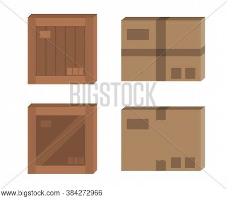 Vector Cardboard Box Mockup Set. Carton And Wooden Box Flat Illustration.