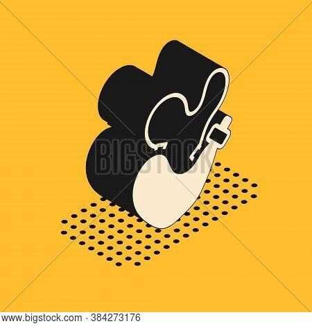 Isometric Spanish Wineskin Icon Isolated On Yellow Background. Vector