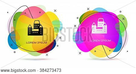 Color Chateau Frontenac Hotel In Quebec City, Canada Icon Isolated On White Background. Abstract Ban