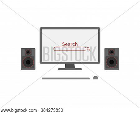 Worktable Computer Monitor With Speakers And Search In Flat