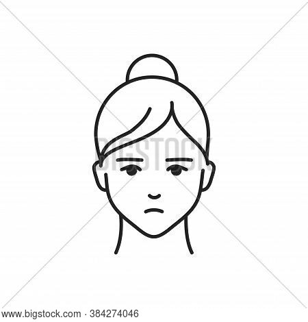 Human Feeling Boredom Line Black Icon. Face Of A Young Girl Depicting Emotion Sketch Element. Cute C