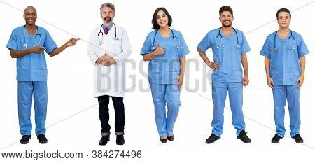 Medical Team Of 5 African American And Caucasian And Latin Doctor And Nurses Isolated On White Backg