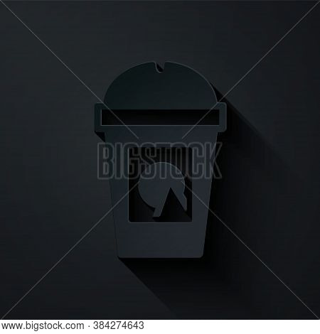 Paper Cut Coffee Cup To Go Icon Isolated On Black Background. Take Away Print. Paper Art Style. Vect