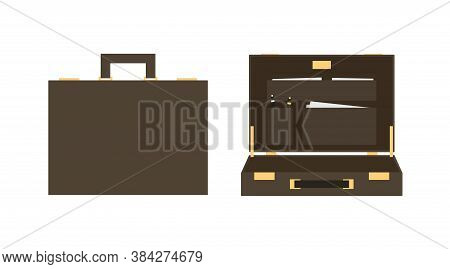 Modern Flat Icon With Brown Diplomat Case For Concept Design. Business Vector Illustration.