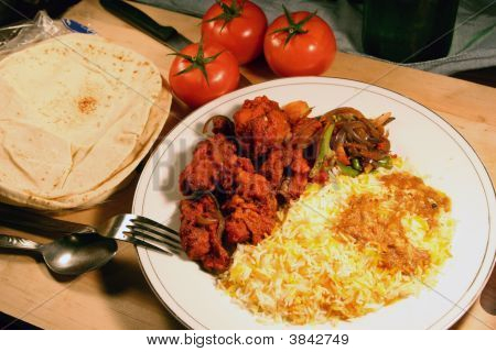 indian biryani food meal with chicken masala poster