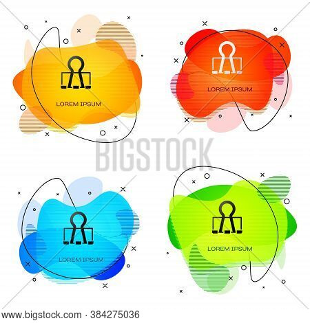 Black Binder Clip Icon Isolated On White Background. Paper Clip. Abstract Banner With Liquid Shapes.