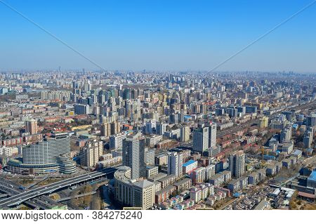 Beijing / China - March 1, 2014: Aerial View Of Downtown Beijing, View From The Central Radio And Tv