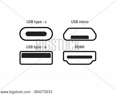 Simple Line Isolated Vector Icon Set Ports Usb In Flat.