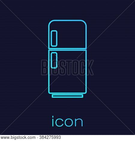 Turquoise Line Refrigerator Icon Isolated On Blue Background. Fridge Freezer Refrigerator. Household