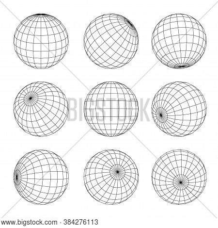Globe Grid Set. Earth, Planet, Orb Wireframe In Nine Position. Geographical Longitude, Latitude.