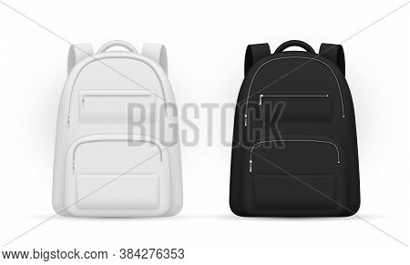 School Backpacks With Zippered Pockets White And Black Realistic Mockups Set. Schoolbag, Knapsacks.