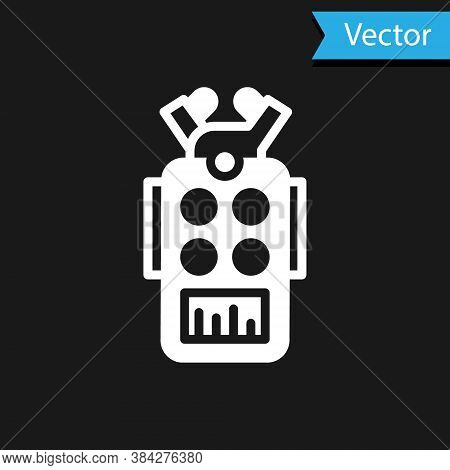 White Microphone Icon Isolated On Black Background. On Air Radio Mic Microphone. Speaker Sign. Vecto