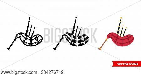 Bagpipe Icon Of 3 Types Color, Black And White, Outline. Isolated Vector Sign Symbol.