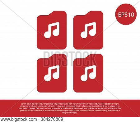 Red Music File Document Icon Isolated On White Background. Waveform Audio File Format For Digital Au