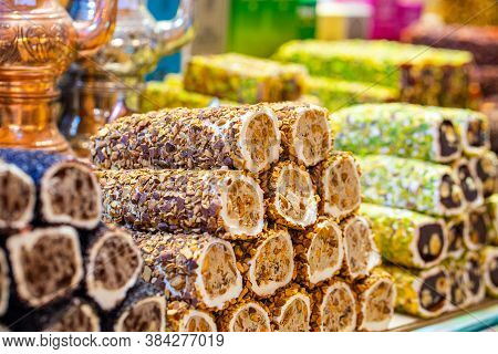 Various Bright Colored Turkish Delights Sweets Baklava Lokum And Dried Fruits Vegetables On Market I