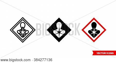 Carcinogen Icon Of 3 Types Color, Black And White, Outline. Isolated Vector Sign Symbol.