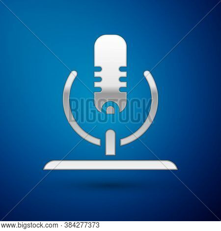 Silver Microphone Icon Isolated On Blue Background. On Air Radio Mic Microphone. Speaker Sign. Vecto