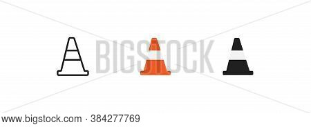 Traffic Cone, Simple Icolated Icon Set. Safety Road Construction Concept Symbol In Vector Flat