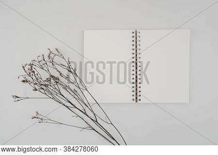 Blank Spiral Bound Sketchbook Or Journal Or Diary With Limonium Dry Flower. Mock-up Of Stationary. T