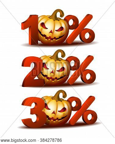 Ten, Twenty And Thirty Percent Discount Icon With Scary Jack O Lantern Halloween Pumpkin.