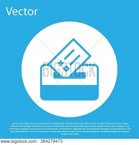 Blue Vote Box Or Ballot Box With Envelope Icon Isolated On Blue Background. White Circle Button. Vec