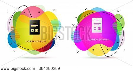 Color Poll Document Icon Isolated On White Background. Abstract Banner With Liquid Shapes. Vector