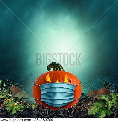Safe Halloween Face Mask As A Jack O Lantern Pumpkin Wearing A Medical Face Mask As An Autumn Symbol