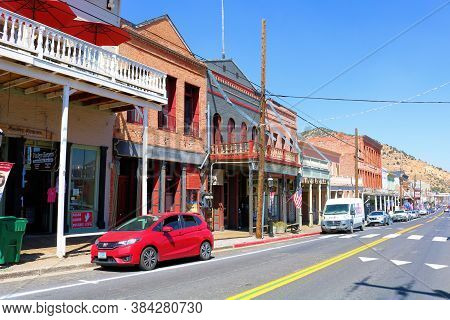 September 5, 2020 In Virginia City, Nv:  Historical Buildings On A Main Street In The Past Mining To