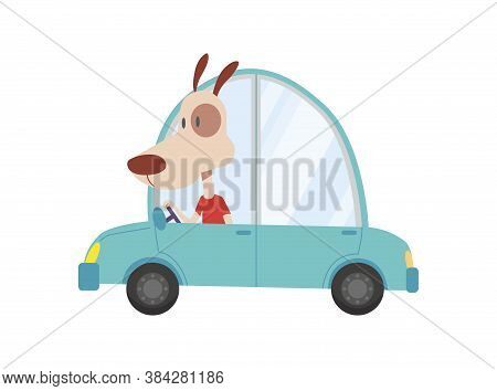 Colored Kids Transport With Cute Little Dog. Animal Driving Car. Cartoon Animal Driver, Pets Vehicle