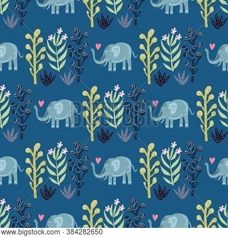 Seamless Childish Pattern With Cute Elefants. Use For Textile, Fabric, Wallpaper,  Kids Apparel, Pos