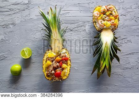 Pineapple Rice With Meat, Shrimps And Vegetables, Top View. Tasty Asian Food. Pineapple Bown, Thai C