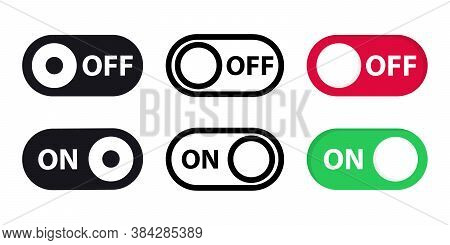 Large Set Of Different Switches On Off. On And Off Toggle Switch Button Vector Format. Toggle Slide